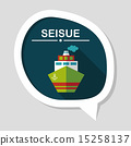 Transportation ship flat icon with long shadow,eps10 15258137