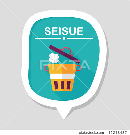 kitchenware garbage can flat icon with long shadow,eps10 15258487
