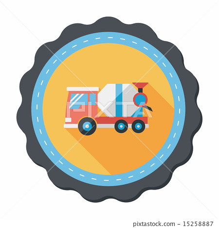 Transportation Cement mixer flat icon with long shadow,eps10 15258887