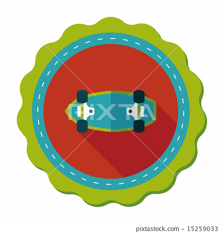 skateboard flat icon with long shadow,eps10 15259033