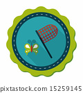 butterfly net flat icon with long shadow,eps10 15259145
