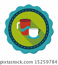 kitchenware cup flat icon with long shadow,eps10 15259784