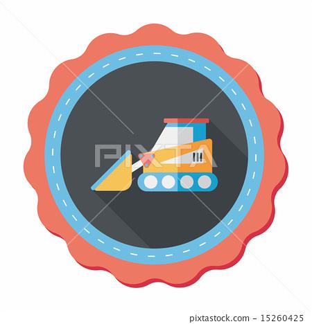 Transportation bulldozer flat icon with long shadow,eps10 15260425