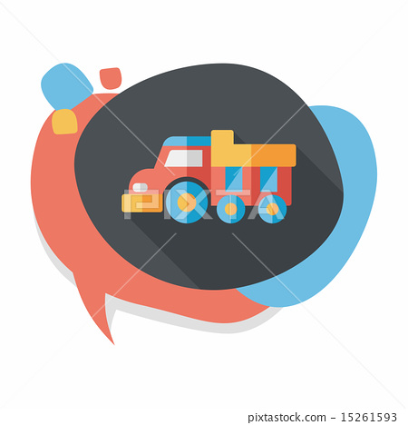 Dump truck flat icon with long shadow,eps10 15261593