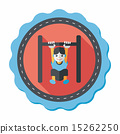 Boy hanging horizontal bar flat icon with long shadow,eps10 15262250
