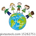 children?s drawing over planet save the planet vector illustrat 15262751