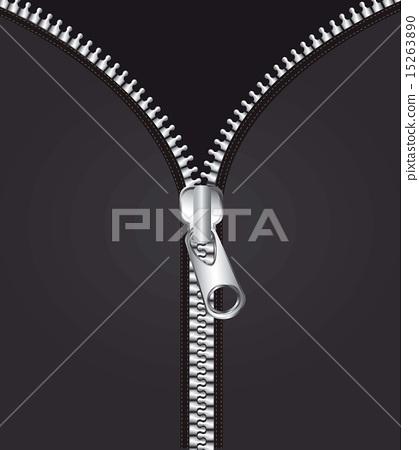 metallic zipper over black background vector illustration 15263890