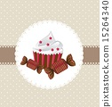 cup cake with candy over beige background vector illustration 15264340