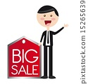 businessman with red tag big sale vector illustration 15265639
