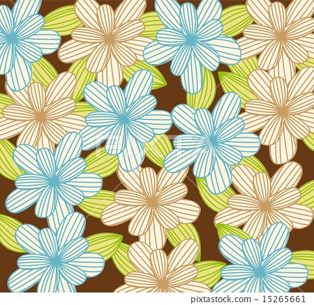 blue and brown cute flowers background vector illustration 15265661