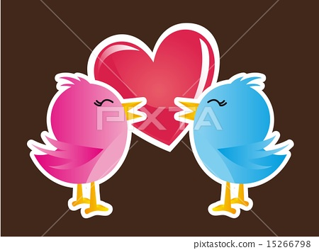pink and blue birds over heart vector illustration 15266798