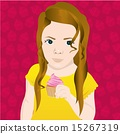 Girl with pink cupcake on cupcakes background 15267319