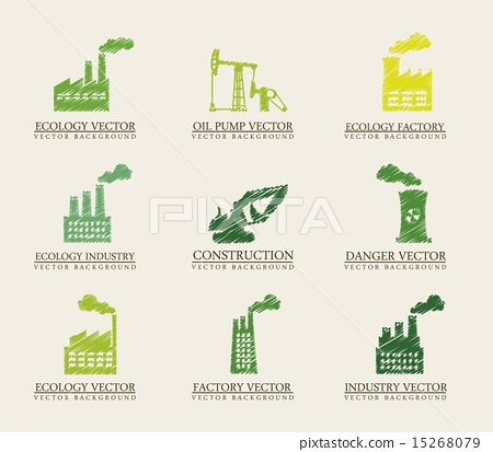 green industry icons over beige background... - ภาพประกอบ ...