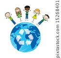 children over planet with recycle sign drawing vector illustrati 15268401