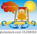 cartoon beach with bird and thought bubble vector 15268463