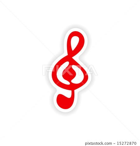 icon sticker realistic design on paper clef 15272870
