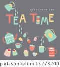 Tea time doodle illustration pastel color vector  15273200