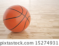 basketball ball on the wooden floor. 15274931