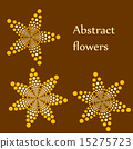 Set of 3 abstract flowers made of dots. 15275723
