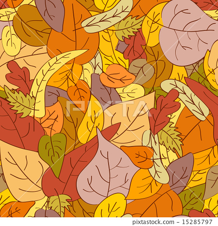 Seamless background made of drawn autumn leaves 15285797