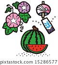 나팔꽃, 수박, 풍경, 여름 3 종 세트 15286577