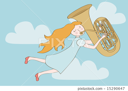 Happy redhead girl flying in sky and playing tuba 15290647