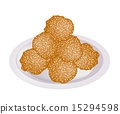 Fried Sweet Potato Balls with Sesame on Plate 15294598