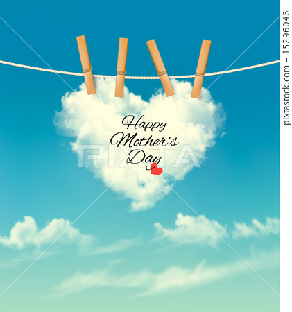 Stock Illustration: Holiday mother day background with cloud