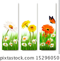 Summer nature banners with colorful flowers 15296050