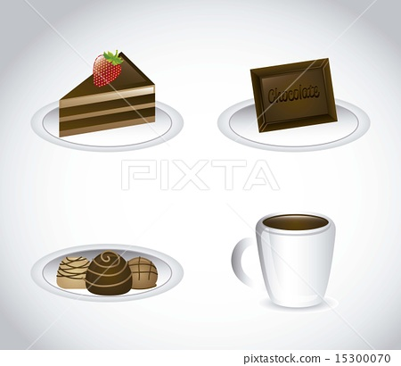 chocolated elements over gray background vector illustration 15300070
