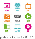 video, vector, icons 15300227