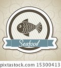 seafood of label over ornament background vector illustration 15300413