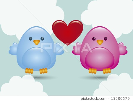 love birds over sky background vector illustration 15300579