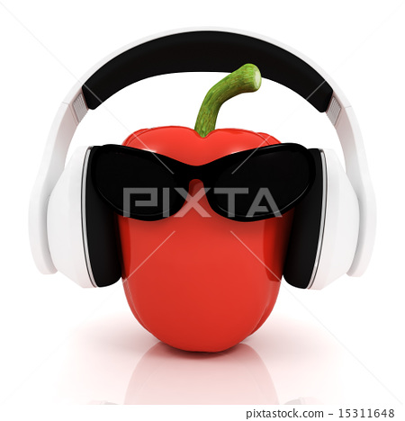 Bell peppers with sun glass and headphones 15311648