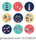 Hello Summer doodle colorful circle icons 15316634
