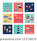 Hello Summer doodle colorful square icons 15316635