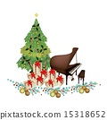 Christmas Tree with Gift Boxes and Piano 15318652