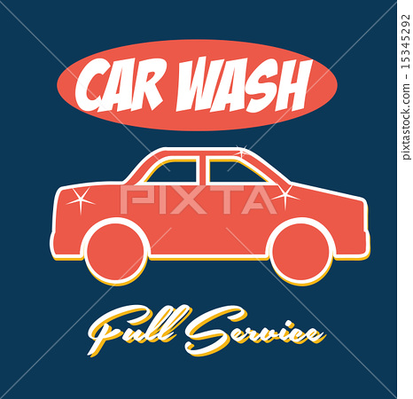 Car Wash Over Blue Background Vector Illustration Stock