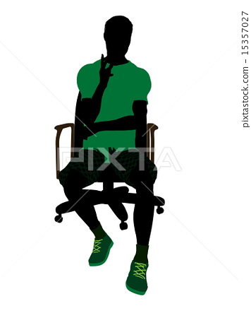 African American Tennis Player Sitting In A Chair Illustration Silhouette 15357027