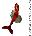 Red Mermaid Sitting On A Rock 15357776