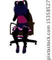 Cheerleader Sitting On An Office Chair Silhouette 15358527