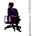 Cheerleader Sitting On An Office Chair Silhouette 15361622