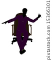 African American Mechanic Sitting On An Office Chair Silhouette 15366301
