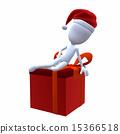 3D Christmas Guy Sitting On A Christmas Gift 15366518