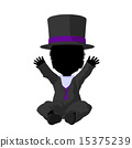 Little African American Top Hat Girl Illustration Silhouette 15375239