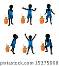 African American Beach Boy Silhouette Illustration 15375908