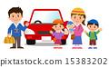 赤い車と家族 15383202