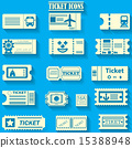 yellowr color ticket icons on bluebackground 15388948
