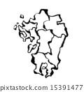 큐슈의 실루엣 15391477