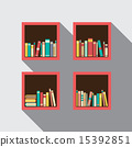 Flat Design Bookshelves Set On Wall 15392851